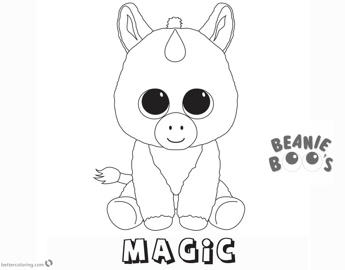 Free Beanie Boo Coloring Pages unicorn magic Printable
