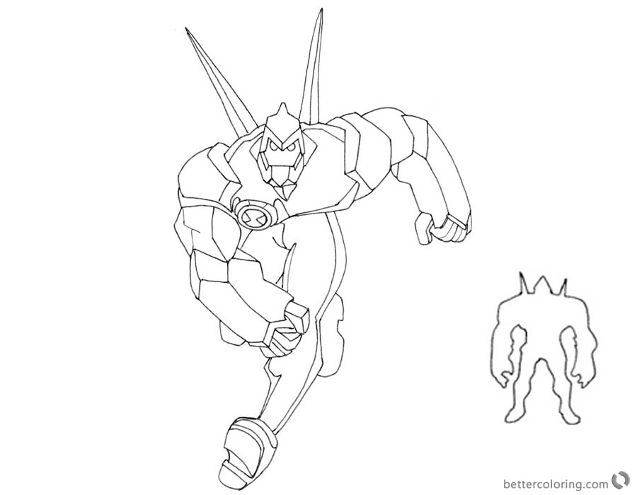 Ben 10 Coloring Pages Alien Force Diamondhead Free Printable
