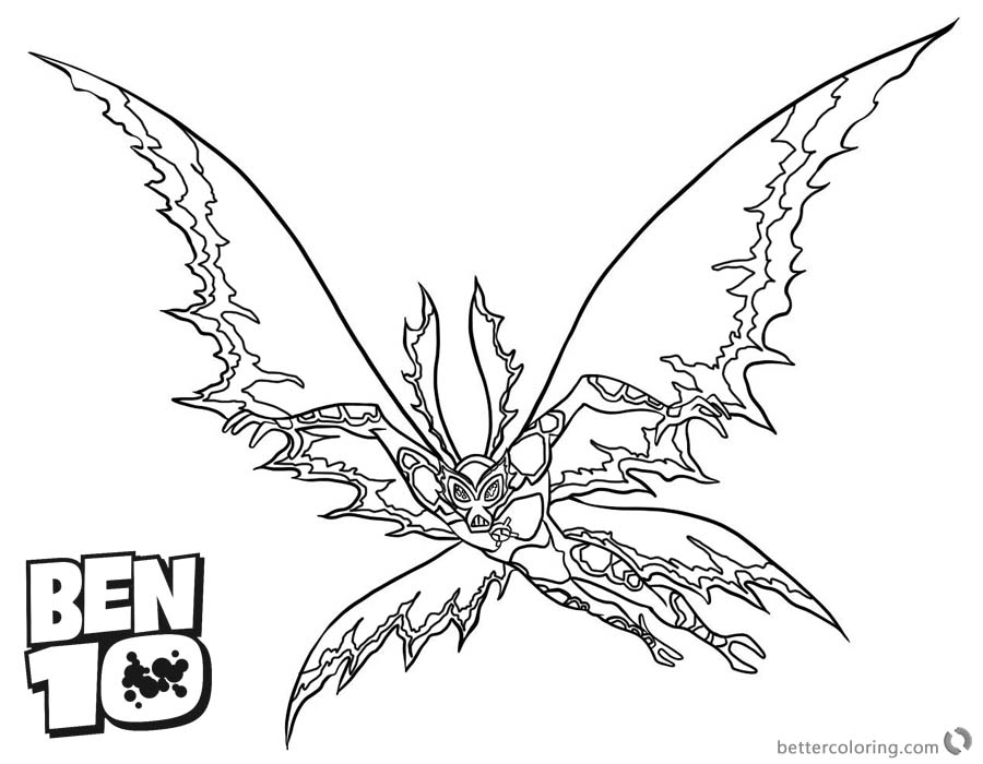 Ben 10 Coloring Pages Alien Force Flying printable for free