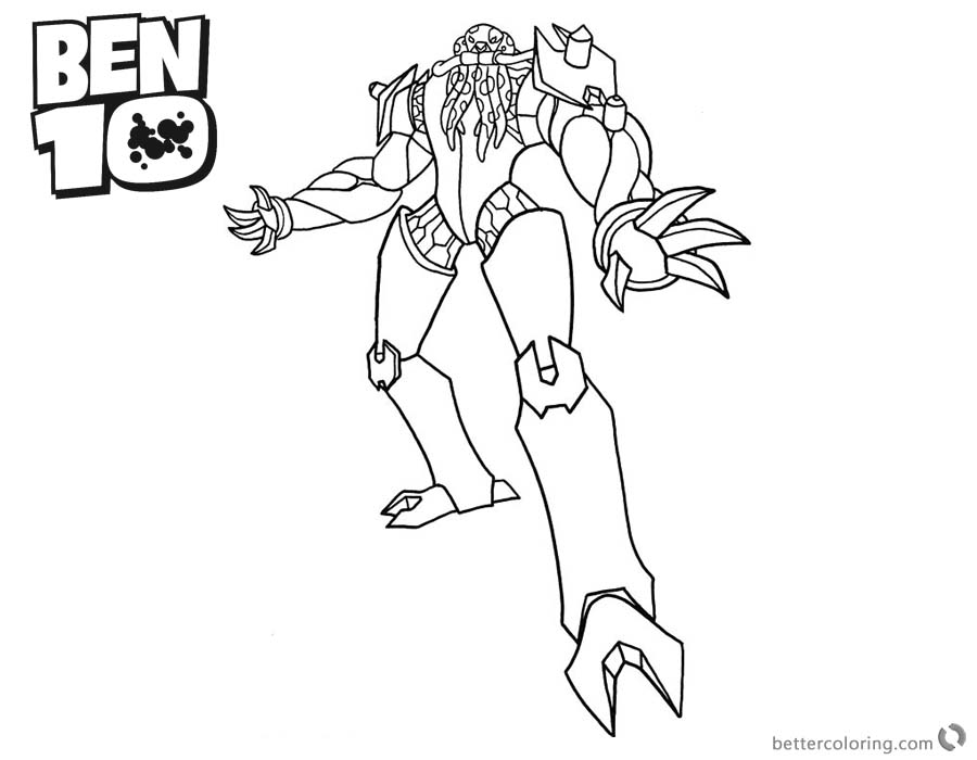 Ben 10 Coloring Pages Alien Force Character Vilgax printable for free