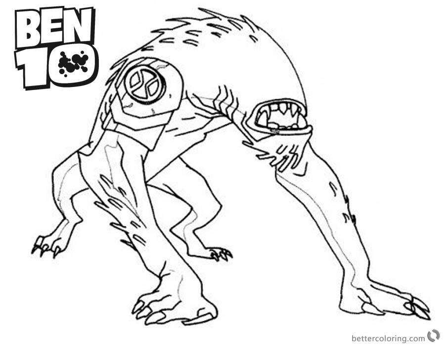 Ben 10 Coloring Pages Alien Force Wildmutt Outline