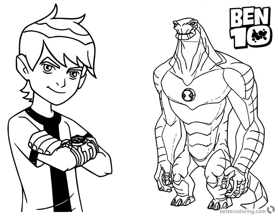Ben 10 Coloring Pages Ben and Alien Force printable for free