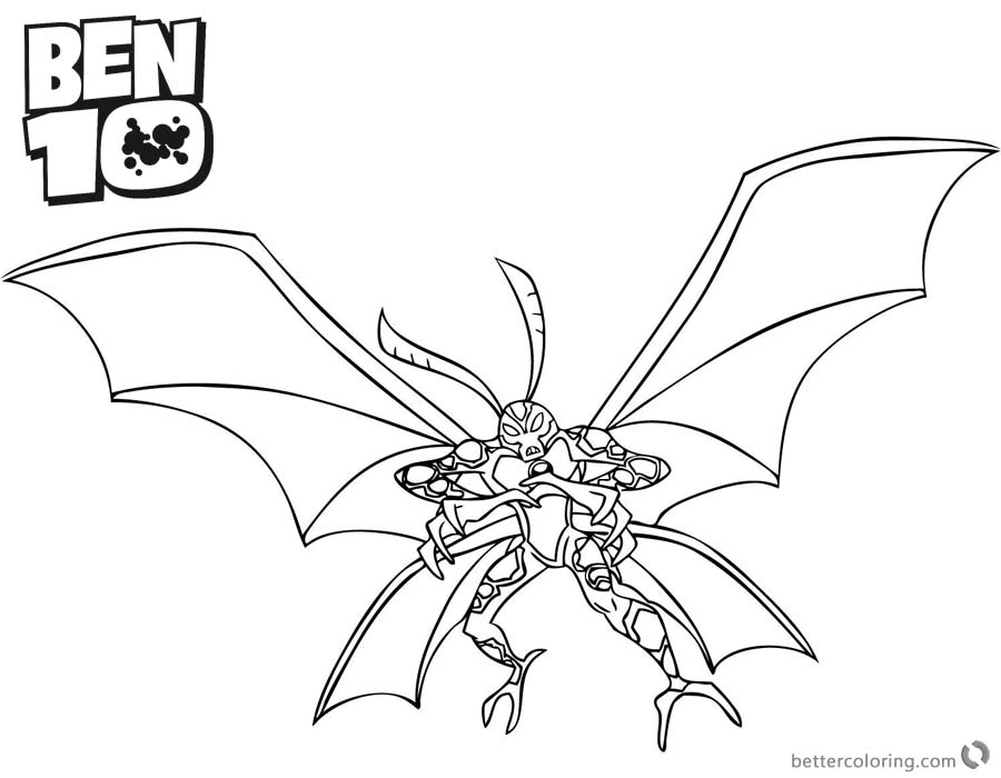 Ben 10 Coloring Pages Big Chill printable for free