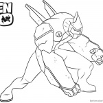 Ben 10 Coloring Pages Diamondhead is Fighting