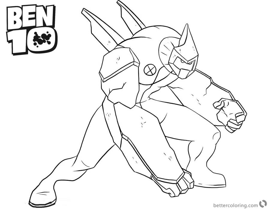 Ben 10 Coloring Pages Diamondhead is Fighting printable for free