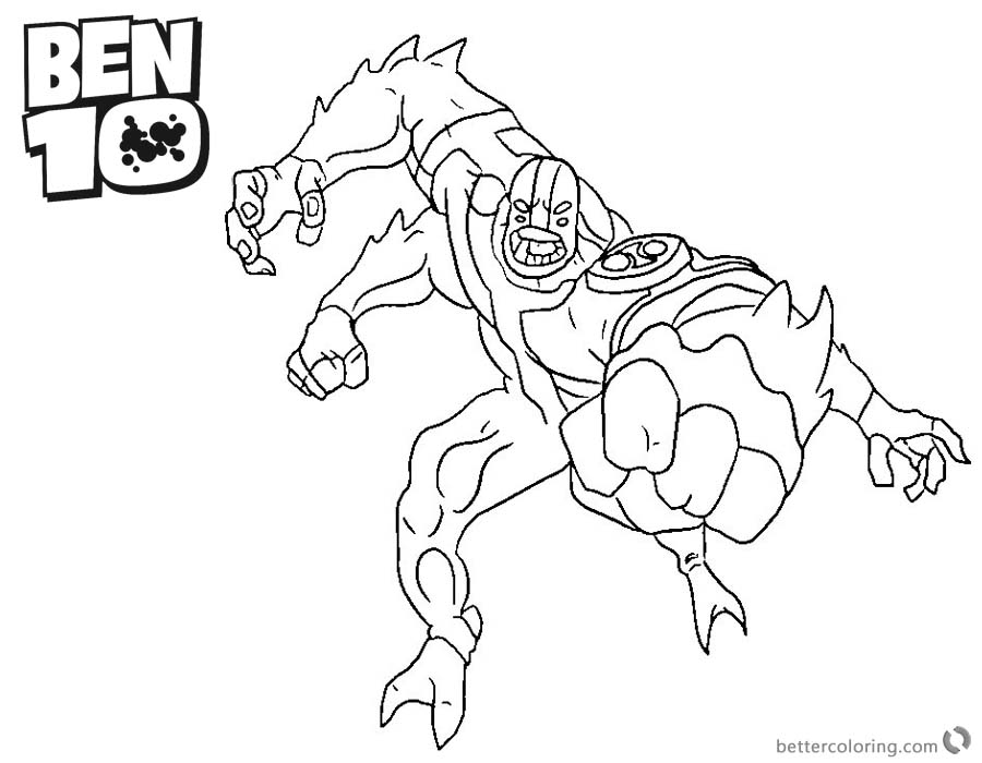 Ben 10 Coloring Pages Four Arm Alien Force Character - Free ...