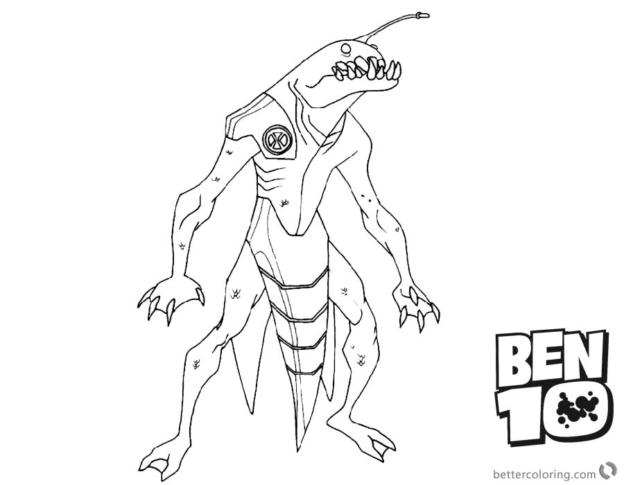 Ben 10 Coloring Pages Ripjaws Alien Force printable for free
