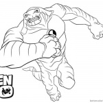 Ben 10 Coloring Pages Strong Alien Drawing Art