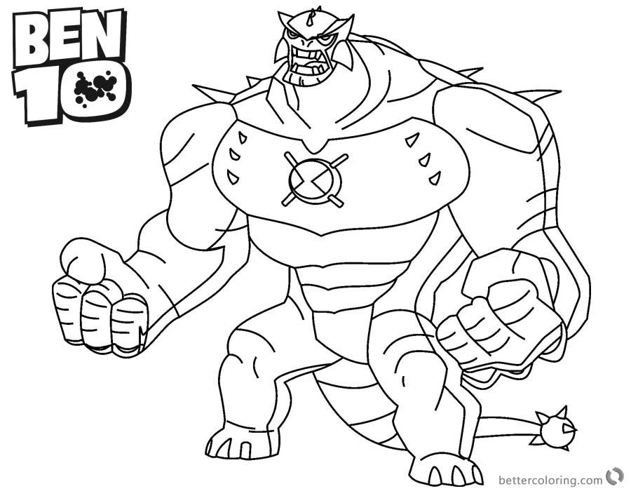 Ben 10 Coloring Pages Ultimate Humungousaur Alien Force - Free ...