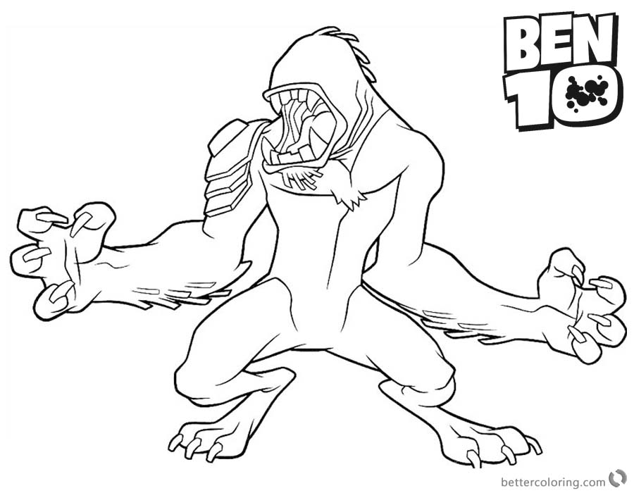 Ben 10 Coloring Pages Wildmutt Clipart printable for free