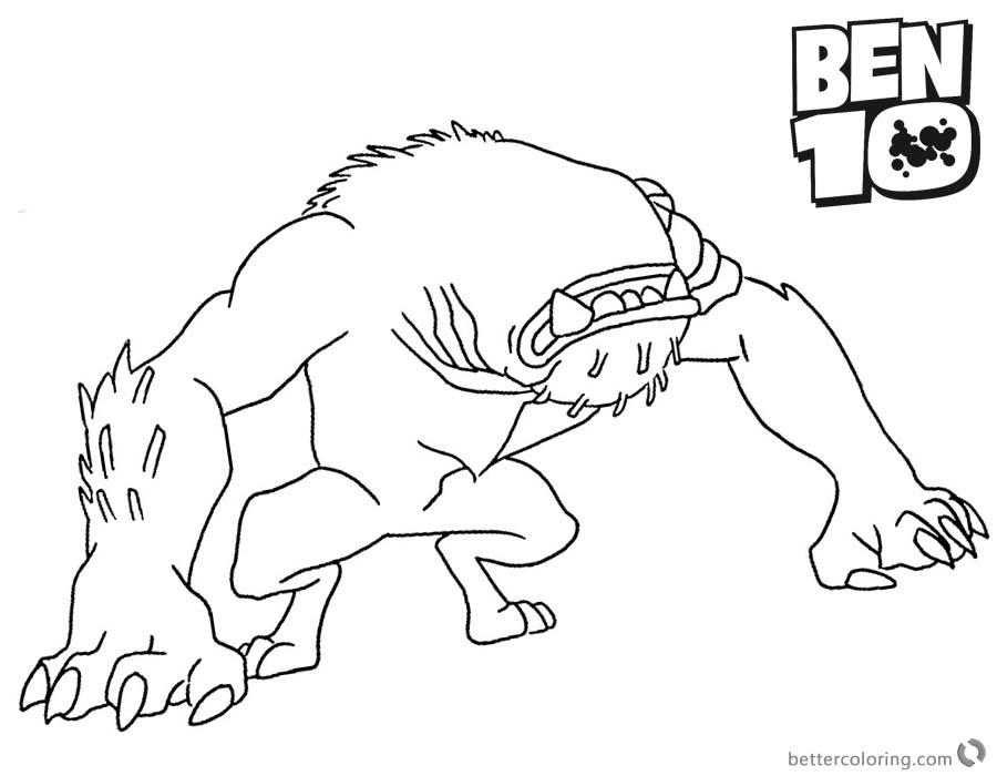 Ben 10 Coloring Pages Wildmutt printable for free
