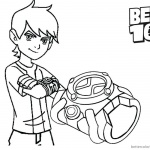 Ben 10 Coloring Pages and his bracelet