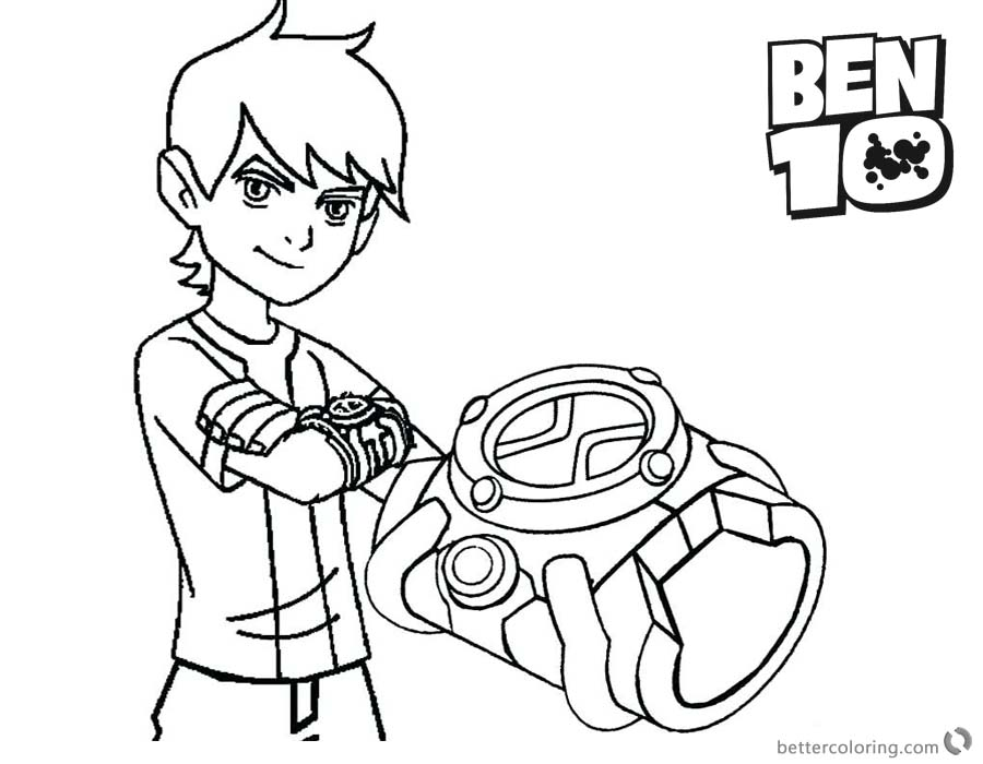 Ben 10 Coloring Pages and his bracelet printable for free
