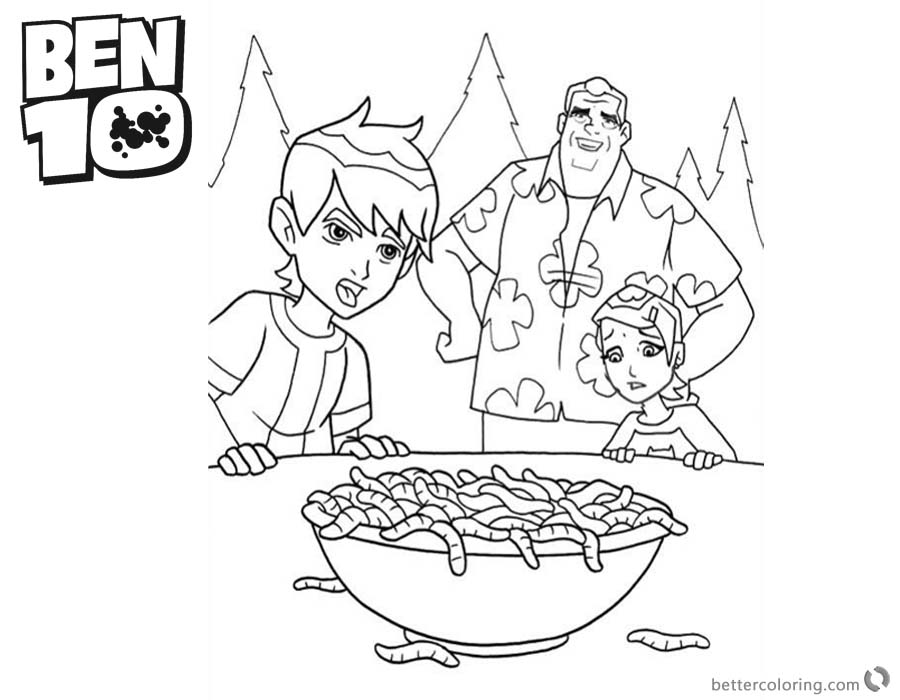 Ben 10 coloring pages Caterplillars In the Bowl printable for free