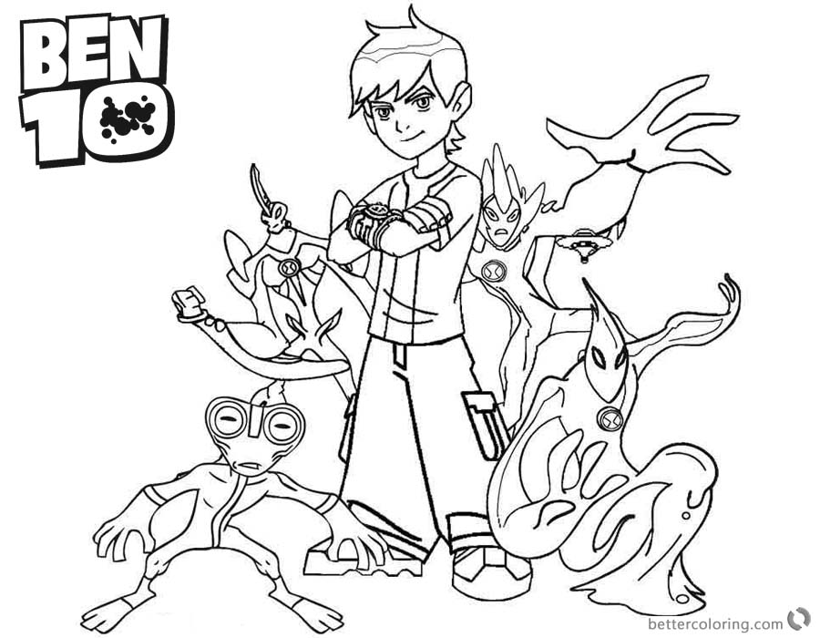 Ben 10 coloring pages Characters Black and White Clipart printable for free