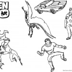 Ben 10 coloring pages Five Characters Lineart