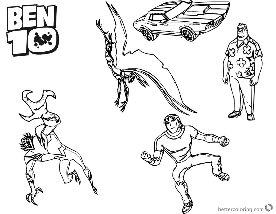 Ben 10 coloring pages Five Characters Lineart printable for free