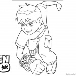 Ben 10 coloring pages Running to Fight