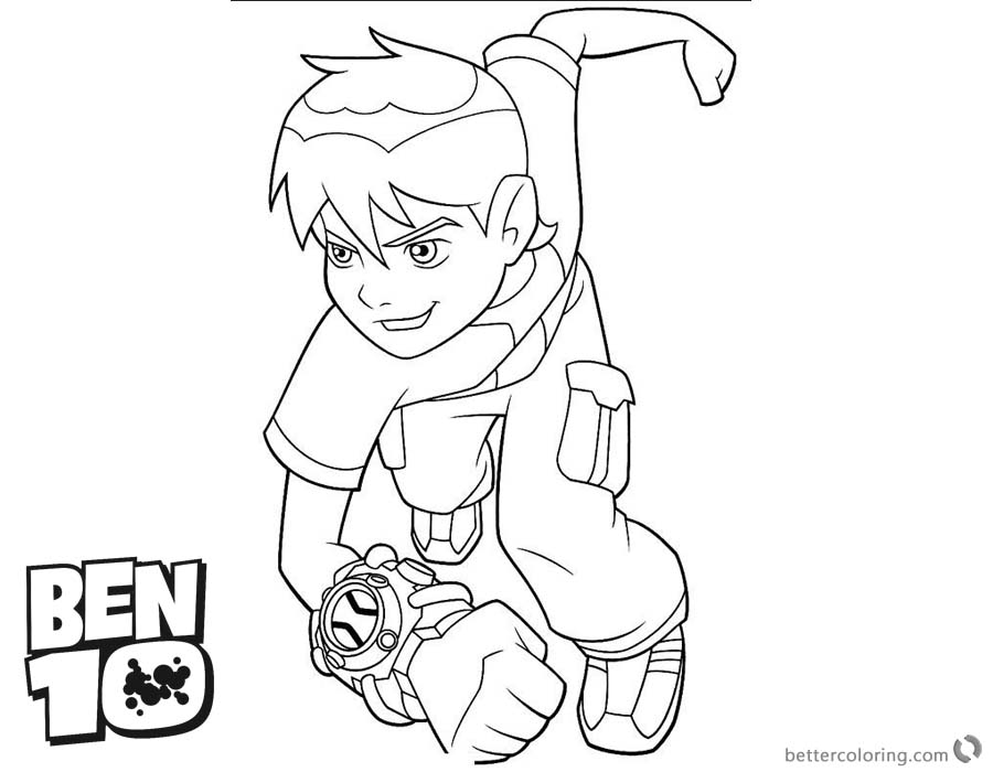 Ben 10 coloring pages Running to Fight - Free Printable Coloring Pages