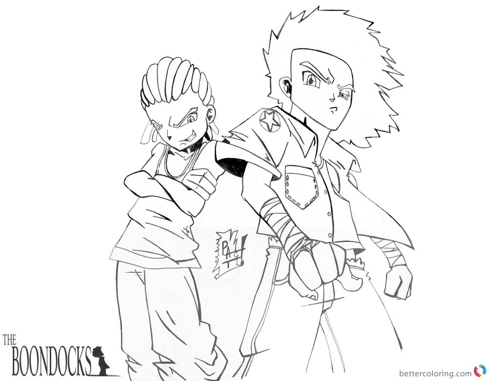 boondocks coloring pages cool fanart free printable
