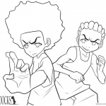 Boondocks coloring pages Freeman brothers lineart