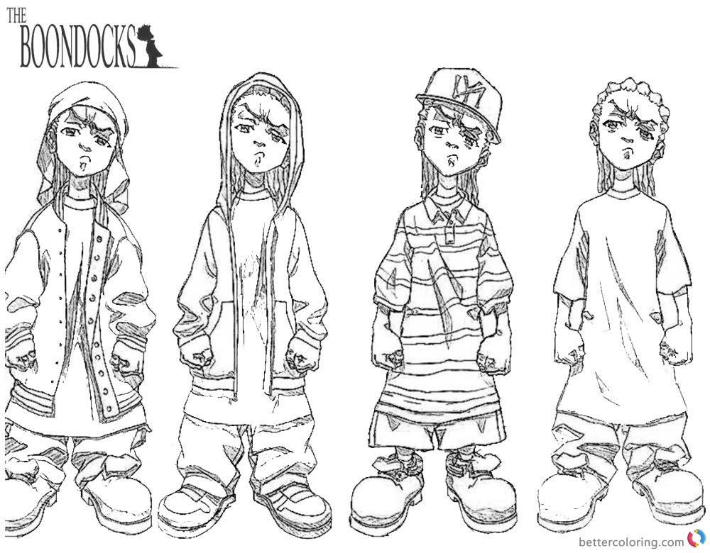 Boondocks coloring pages Gangsta printable
