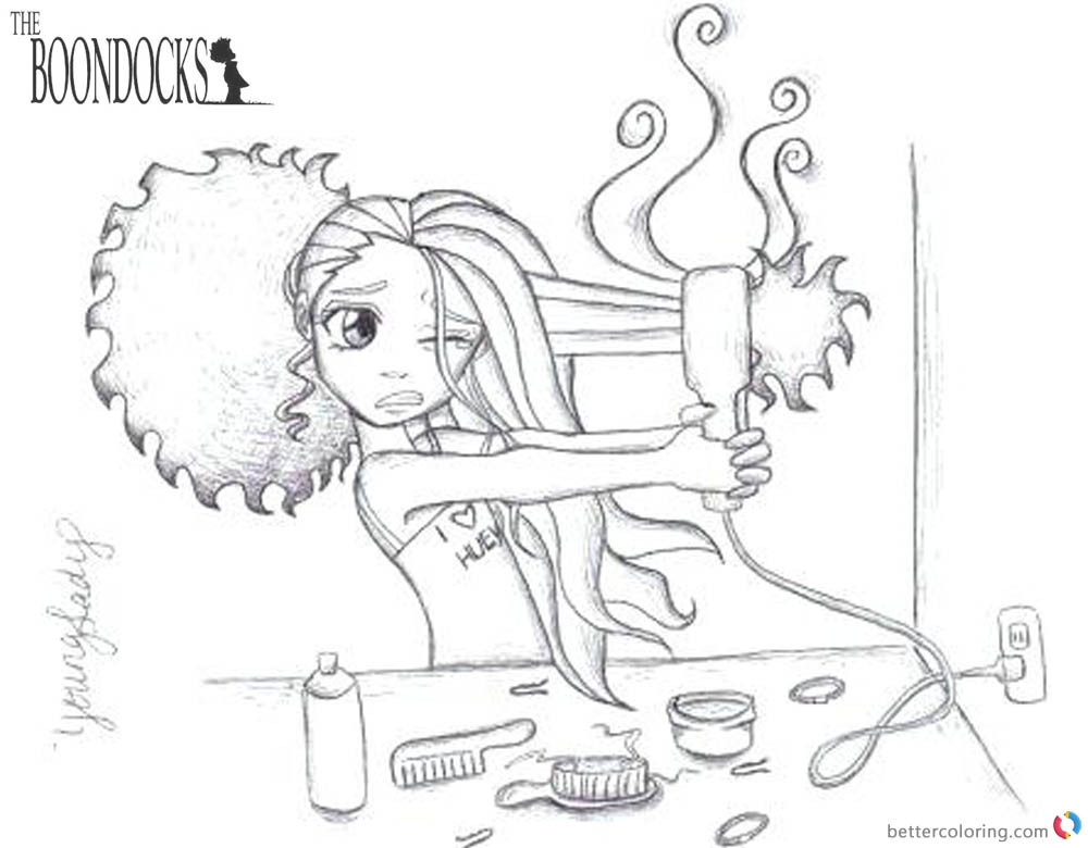 boondocks coloring pages hair trouble free printable