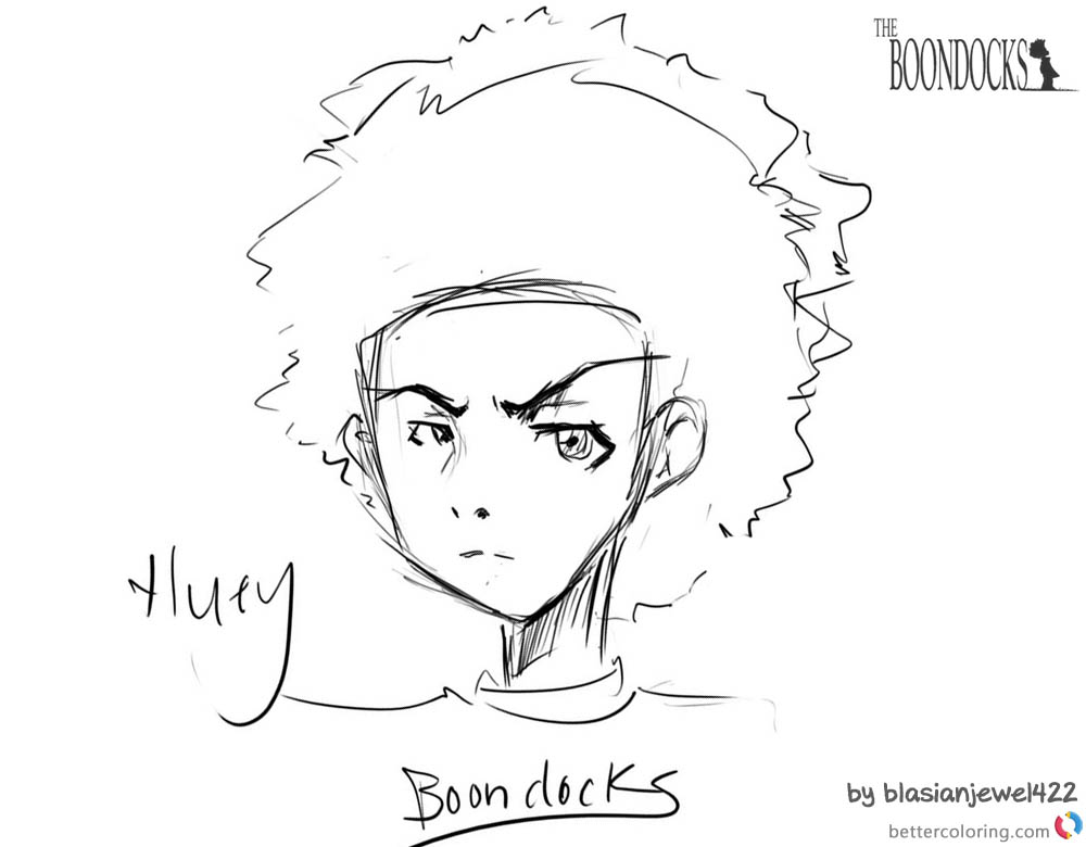the boondocks coloring pages - boondocks coloring pages huey fan drawing shiki no bijutsu