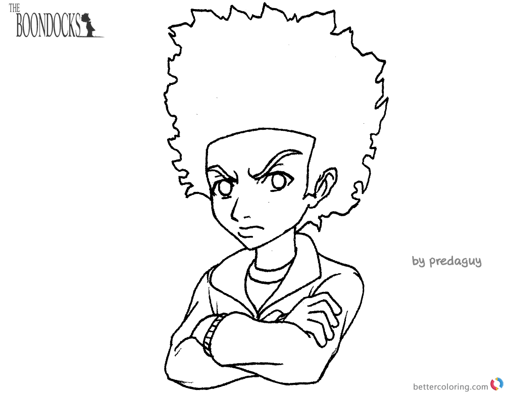 boondocks coloring pages huey cute freeman lineart free