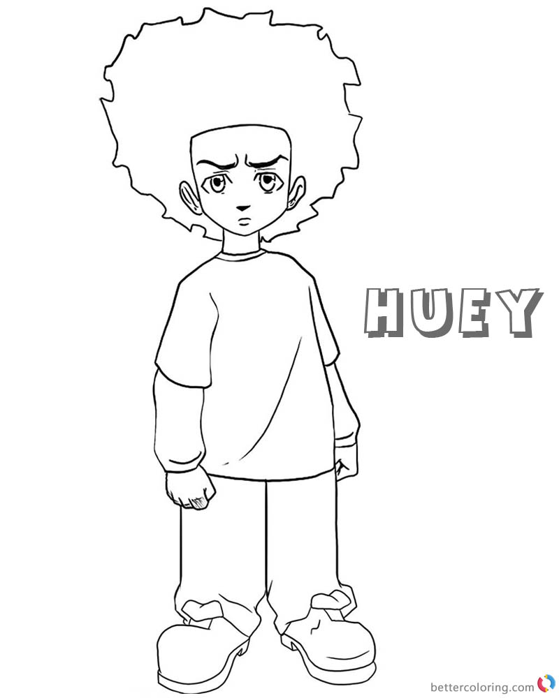 Boondocks coloring pages Huey Lineart black and white printable