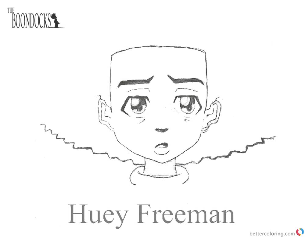 Boondocks coloring pages Huey Simple Drawing printable