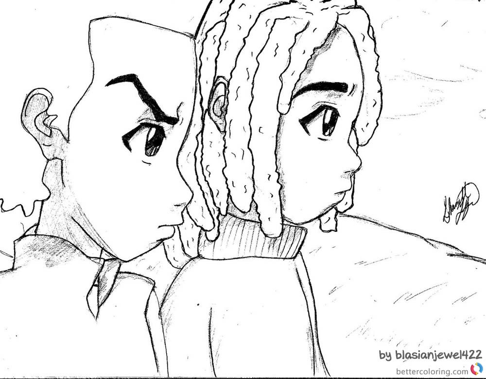 Boondocks Coloring Pages Huey And Michael Caesar Free