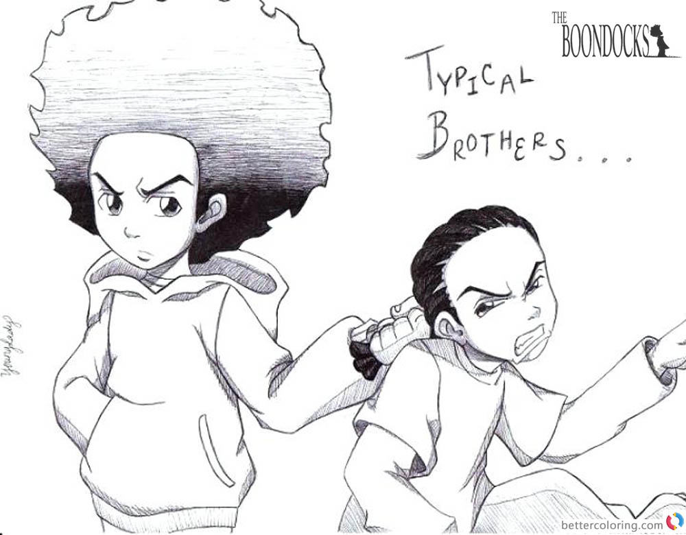 Boondocks coloring pages Huey and Riley Fanart printable