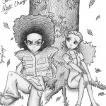 Boondocks coloring pages Jaz and Huey under tree