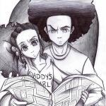 Boondocks coloring pages Jazmine and Huey watching newspaper