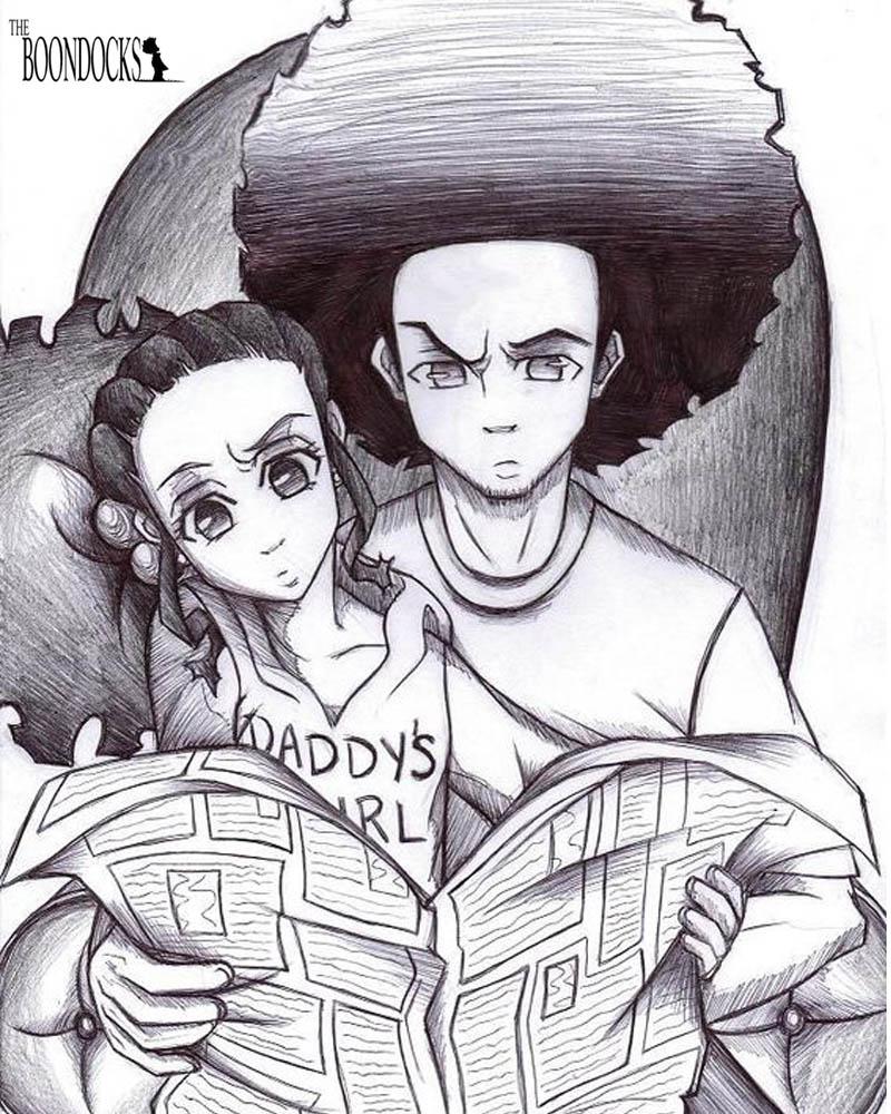 Boondocks coloring pages Jazmine and Huey watching newspaper printable