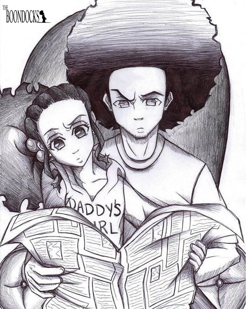 boondocks coloring pages jazmine and huey watching newspaper free printable coloring pages. Black Bedroom Furniture Sets. Home Design Ideas