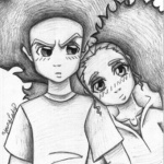 Boondocks coloring pages Drawing of Huey and Jasmine