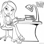 Bratz Coloring Pages Babyz Doll Sit by Desk