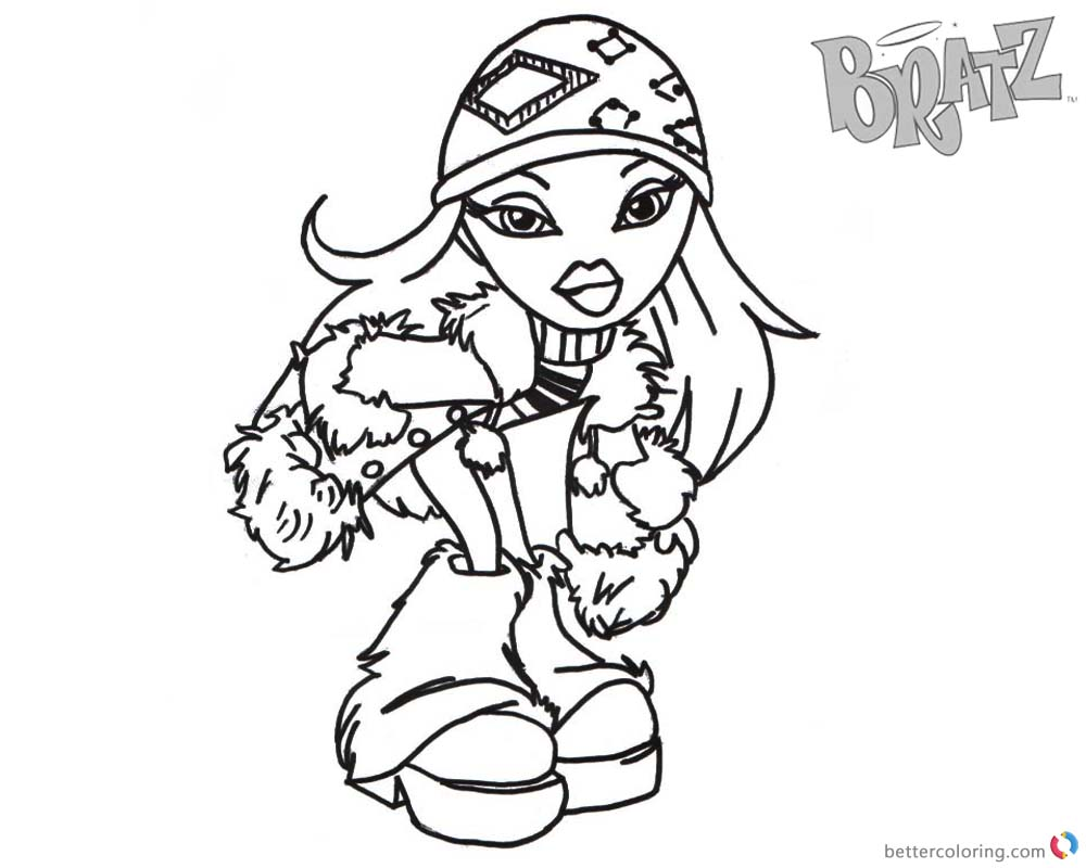 Bratz Coloring Pages Babyz Doll Wear Winter Clothes printable for free