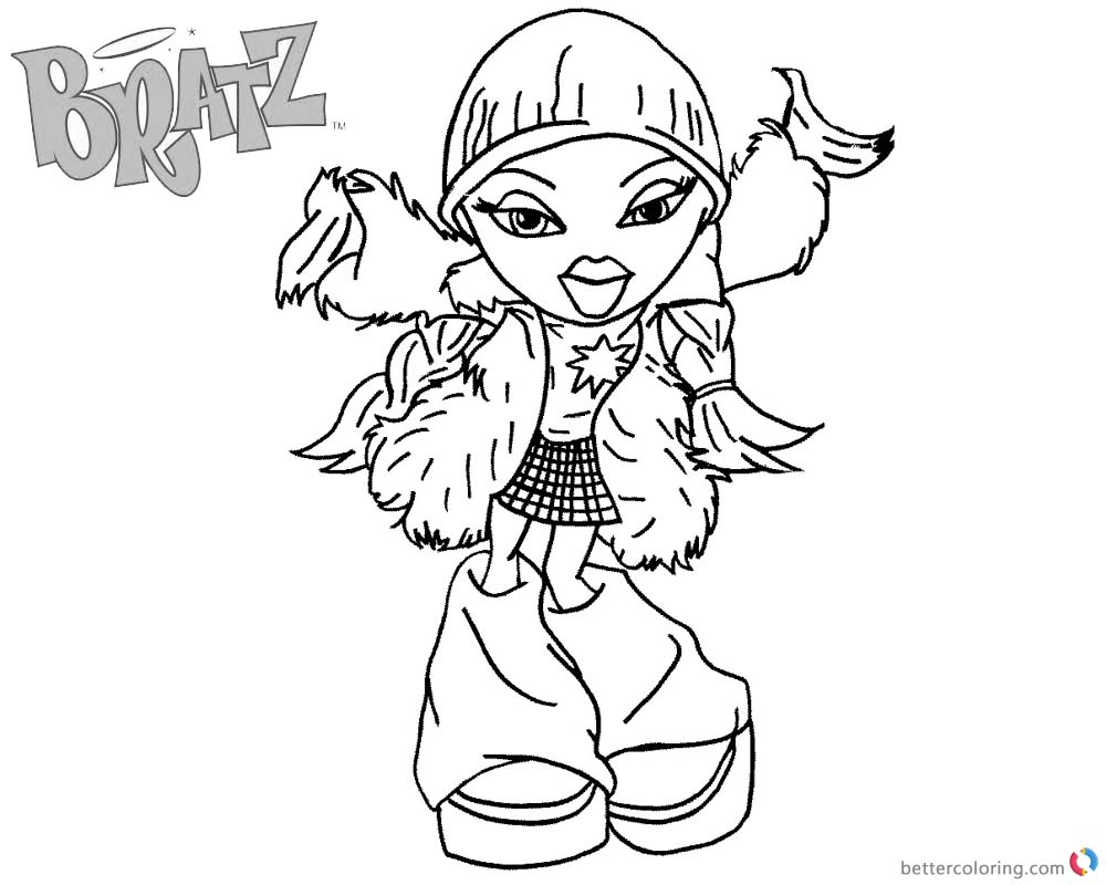 bratz coloring pages dancing babyz girl free printable