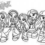 Bratz Coloring Pages Five Babyz Girls Black and White