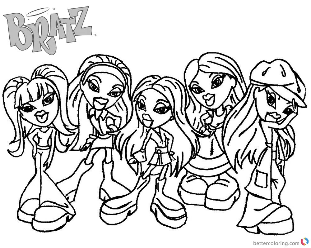 Bratz Coloring Pages Five Babyz Girls Black and White printable for free