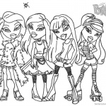 Bratz Coloring Pages Four Glamor Girls