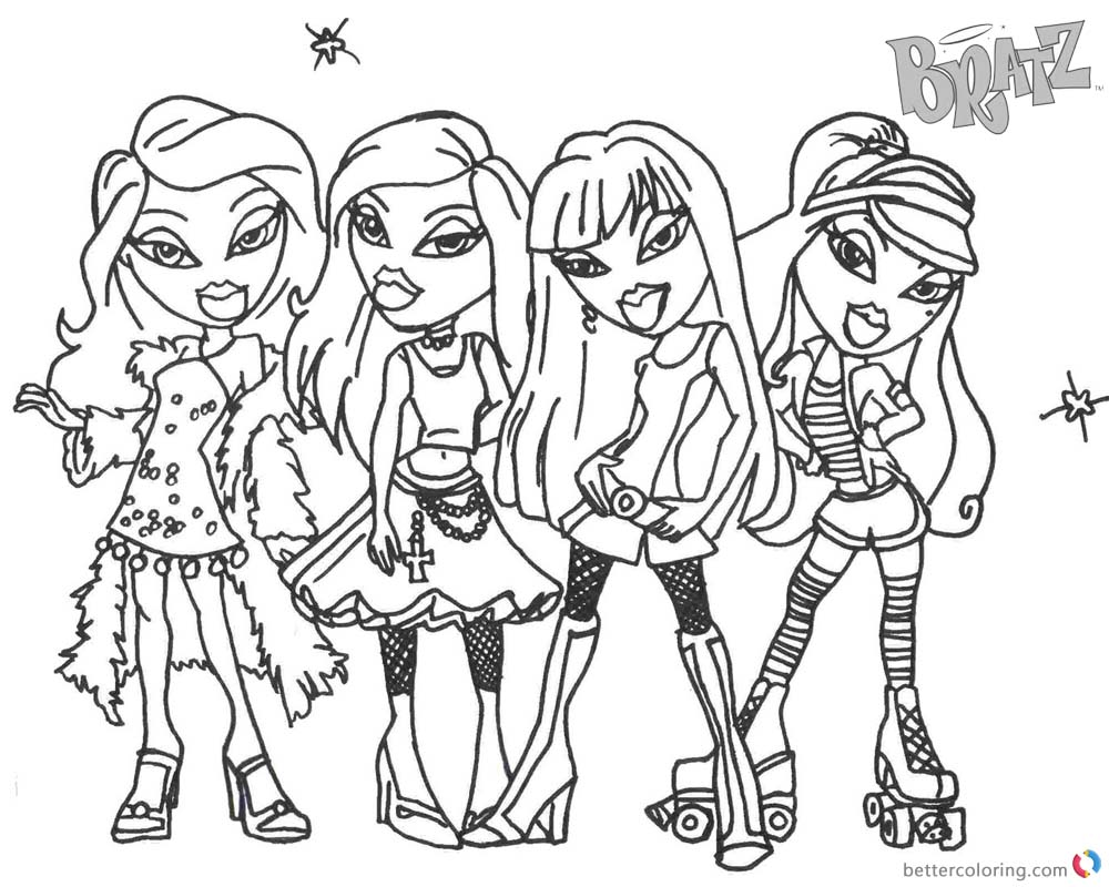 Bratz Coloring Pages Four Glamor Girls - Free Printable Coloring Pages