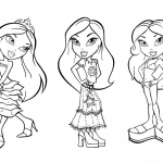 Bratz Coloring Pages Three Babyz Doll Girl Lineart