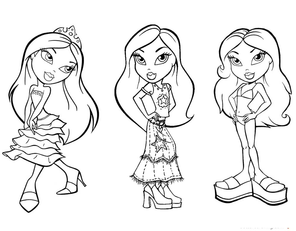 Bratz Coloring Pages Three Babyz Doll Girl Lineart printable for free