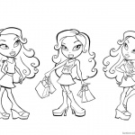 Bratz Coloring Pages Three Girl Dolls Colouring Sheet