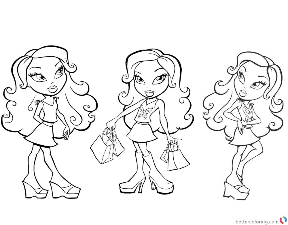 Bratz Coloring Pages Three Girl Dolls Colouring Sheet printable for free