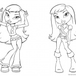 Bratz Coloring Pages Two Babyz Doll Girl Lineart